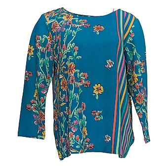 Bob Mackie Women's Top 3/4 Sleeve Floral Stripe Pullover Blue A350910