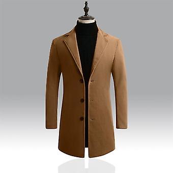 Autumn Winter Mens Brand Fleece, Blends Jacket, Male Overcoat, Casual Solid