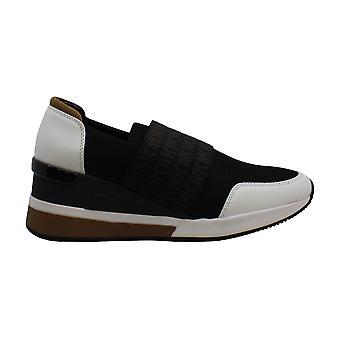 مايكل كورس MK Women & apos;s فيليكس المدرب أحذية أحذية رياضية شبكة 9.5 أسود البصرية الأبيض