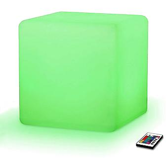 Modern Home LED Glowing Cube Box Stool w/Infrared Remote Control - Color Changing Light Indoor/Outdoor Weatherproof Stool