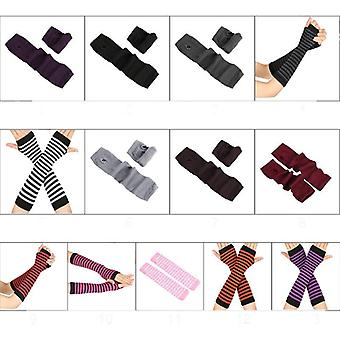 Autumn Wrist Arm Hand Warmers Knitted Fingerless Gloves Long Sleeve Soft