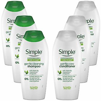 Simple Kind to Hair Gentle Care Shampoo & Conditioner, 3 Packs of 400ml Each