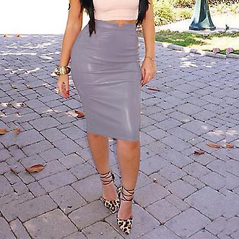 Pu δερμάτινη φούστα φθινόπωρο streetwear