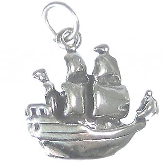 Pirate Ship Sterling Silver Charm .925 X 1 Pirates Chips Boats Charms - 2078