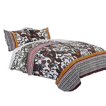 Detroit Fabric 3 Piece Queen Size Quilt Set With Tribal Motifs, Multicolore