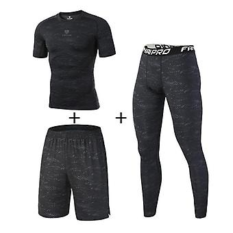 Compression Men's Sport Suits Quick Dry Fit Running Sets Leggings Sports
