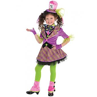 Dress Mad Hatter Girls Polyester 6-Delig 6-8 Years