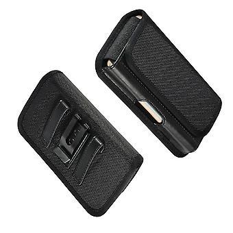 Étui horizontal de clip de ceinture métallique avec support de carte dans le textile et le cuir pour Acorn Micro Phone C5 (2018)