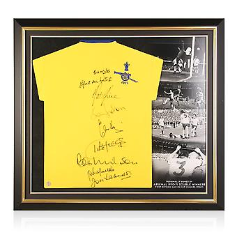 Arsenal 1971 FA Cup Winners Multi Signed Shirt. Premium Frame