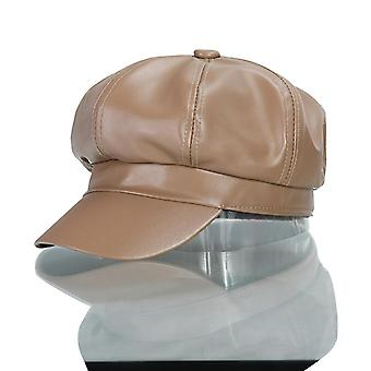 New Fashion Pu Leather British Style Retro Newsboy Military Octagonal Cap