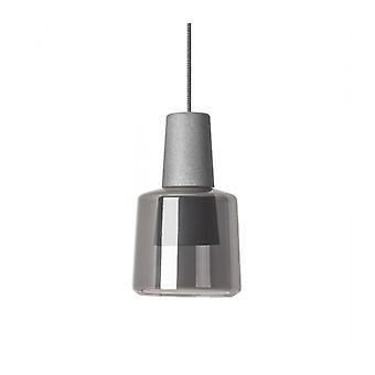Lámpara Colgante Khoi, Aluminio Y Vidrio, Gris Cemento