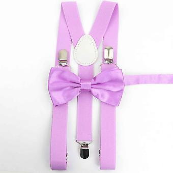 Men Women Suspenders Polyester Y-back Braces Two Colors Bow Tie