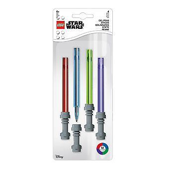 Star Wars LEGO Gel Pen 4 Sæt lyssværd rød/blå/gr3n/violet, trykt, 100% plast, i blisteremballage.
