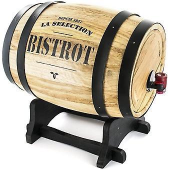 Bistro kv7166Dispenser Wein Fass Holz farblich sortiert 27x 21,5x 27,5cm 3l
