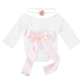 2pcs/set Newborn Photography Props Baby Lace Rompers Floral Headband