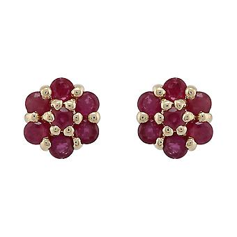 Floral Round Cut Ruby Cluster Stud Earrings in 9ct Yellow Gold 8755