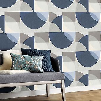 Elle Decoration Geometric Circle Graphic Wallpaper Grey Blue 1015008