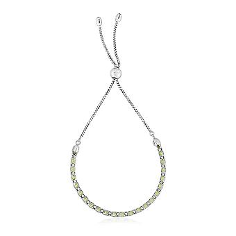 Sterling Silver 9 1/4 inch Adjustable Bracelet with Pale Green Cubic Zirconias