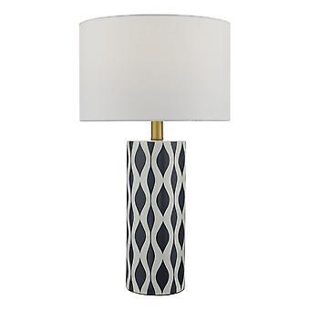 DAR WEYLIN tafellamp blauw en wit keramiek met ronde trommelschaduw