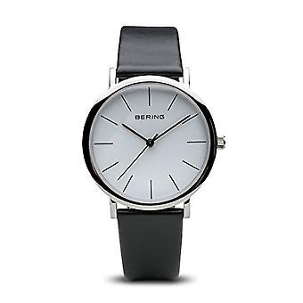 BERING Analoog Horloge Unisex Adult Quartz met Lederen Band 13436-404(2)