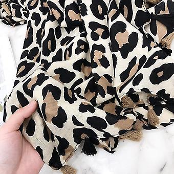 Fashion Design Sexy Leopard Dot Tassel Viscose Sjaal Sjaal