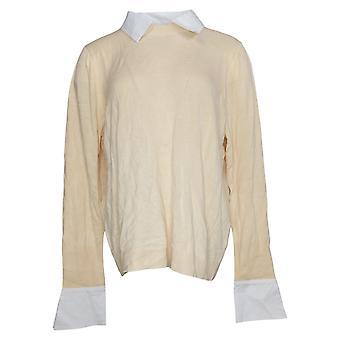 Laurie Felt Suéter de mujer en capas con collar y puños beige A384017