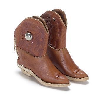 dockor hus brun cowboy stövlar skor miniatyr hall ranch tillbehör 1:12