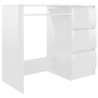 vidaXL Työpöytä Korkea kiilto Valkoinen 90 x 45 x 76 cm Lastulevy