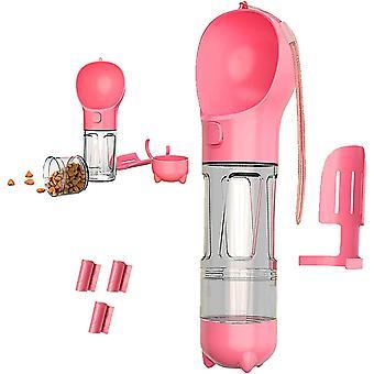 Distributore di animali rosa da 500 ml con sacchetto per buste per ciotola per il cibo e cai904