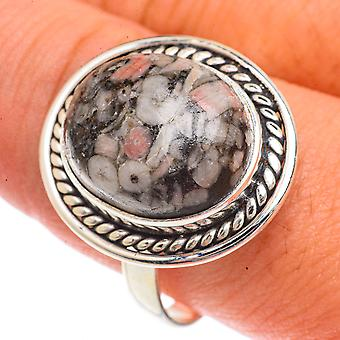 Crinoid Fossil Ring Size 10.75 (925 Sterling Silver)  - Handmade Boho Vintage Jewelry RING66347