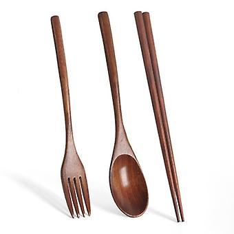 Handmade Japanese Natural Wood Chopsticks Spoon Set