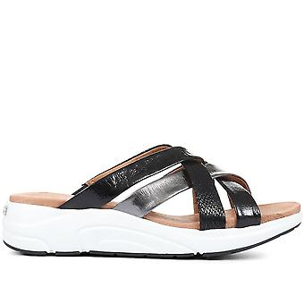 Caprice Womens Woven Leather Wedge Mules