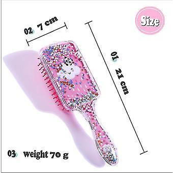 Cartoon Airbag Comb Transparent Printing Massage Rainbow Comb(Pink)