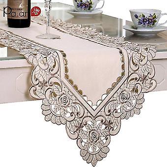 אירופה סאטן שולחן רץ אבק קישוט חתונה רצים הביתה טקסטיל בית טקסטיל שולחן