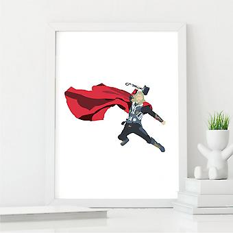 Thor Wall Art Print   Gift for Marvel Comic & Film Fans   A4 with White Frame