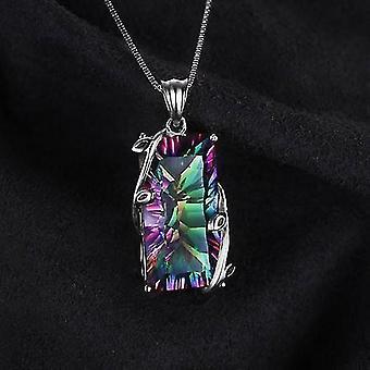 Silver 925 Smycken Halsband Med Rektangel Topaz Ädelstenar Hängen (Färgglada)