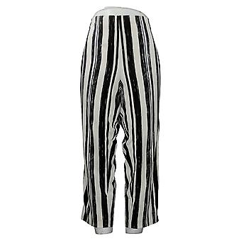 Dennis Basso Pantalones de Mujer Pull On Recortado Negro A376936