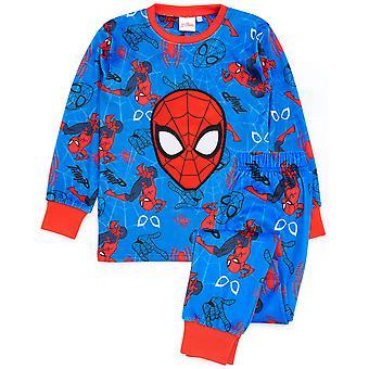 Marvel Spider-Man Pyjamas Boys Super Soft Fleece | Kids Superhero Blue Red Character All Over Print T-Shirt Trousers Pjs | Comics Clothing Gift