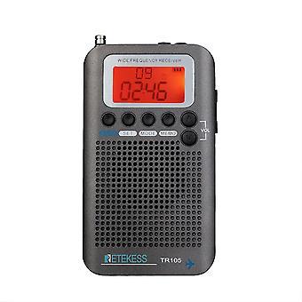 Bärbar radioflygplan Full Band Radio Receiver World Band med LCD-display väckarklocka