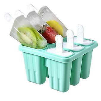 6 Loch Silikon Eis Form Eis Würfel Tablett Popsicle Barre Popsicle Eisformen(grün)