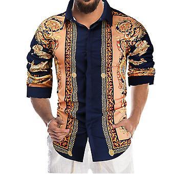 Silktaa Men's Fashion Print Lapel Long Sleeve Shirt