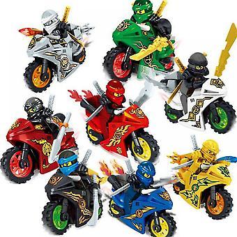 8x Ninjago Motorcycle Set Figurines Figurines Blocs Cosplay Cadeaux Jouets