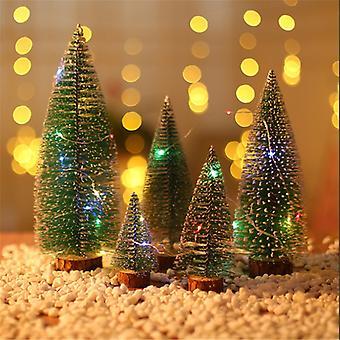 Evago med lys miniatyr furutrær Sisal trær med trebase juletre sett bordplate trær for miniatyrscener, julehåndverk og design