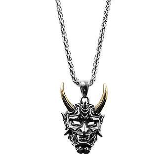 Golden Horn Prajna Necklace Men's Ghost Mask Pendant Hip Hop Personality Nightclub Sweater Chain Titanium Steel Pendant Trend