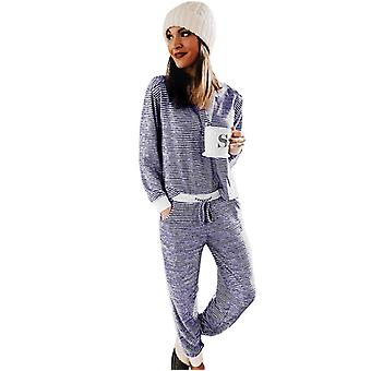 Women's Casual Suits Long Sleeve Printed Stripe Stitching Casual Suit