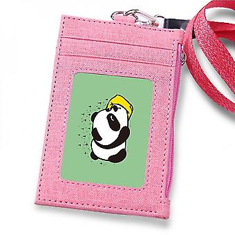 (Pink)Leuyuan Id Badge Case Holder With 1 Id Window And 3 Card Slots And Zipper Coin Pocket