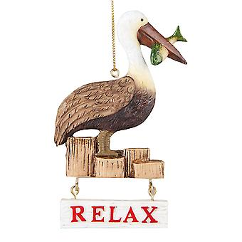 Relax Pelican Sitting on Pier 4.5 Inch Resin Christmas Holiday Ornament