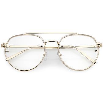 Moderne ronde Aviator brillen slanke Brow Bar montuurloze duidelijk vlakke Lens 59mm
