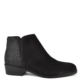 Kanna Nola Black Suede And Glitter Ankle Boot