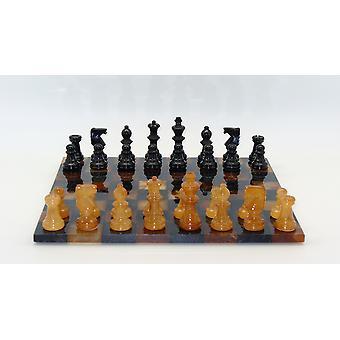 黑色 + 棕色基本雪花石膏国际象棋集